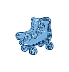 Roller skates vintage etching vector