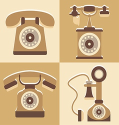 Set of cute telephone and vintage style vector image vector image