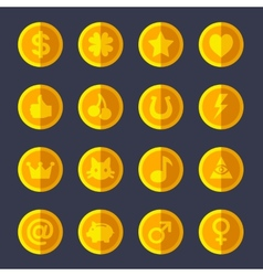 Set of flat gold coins vector image vector image