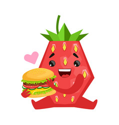 Smiling strawberry sitting and holding burger vector