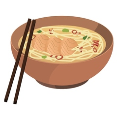 soba noodle soup vector image vector image