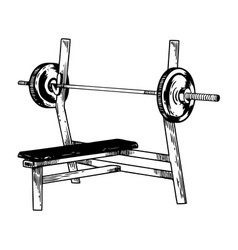 Sport equipment bench barbell engraving vector
