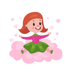 sweet redhead little girl sitting on a pink cloud vector image vector image
