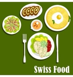 Swiss cuisine with rosti fish and chocolate roll vector