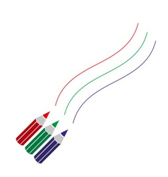 Three color pencils drawing curved lines eps10 vector
