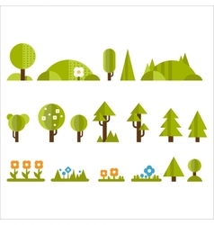 Trees Bushes and Flowers Set in Flat Style vector image