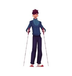 Young Caucasian man with ski and poles vector image vector image