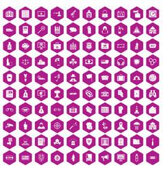 100 crime icons hexagon violet vector