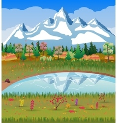 Autumn nature landscape forest mountains lake vector image