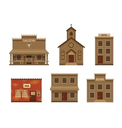 Wild West Houses Set vector image