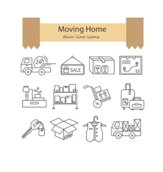Warehouse logistic thin line icons vector
