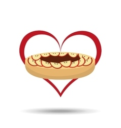 Heart cartoon cake apple and sweet chocolate icon vector