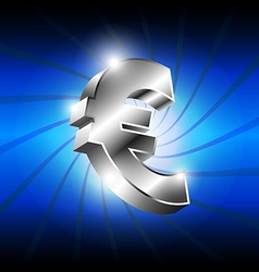 metallic euro money icon vector image