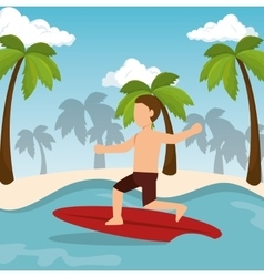 Boy surfing water sport extreme vector