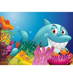 A big shark near the coral reefs vector image