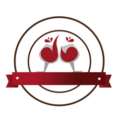 Circular emblem with wine glasses and banner vector