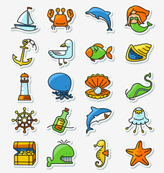 Marine and nautical icons set in line thin and vector