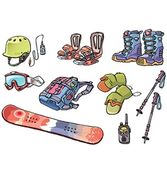 Backcountry freeride stuff for the snowboarders vector