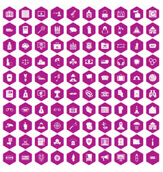 100 crime icons hexagon violet vector