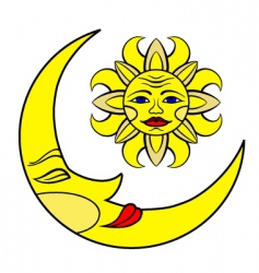 moon and the sun vector image