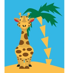 Giraffe and palm vector