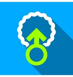 Ovum penetration flat long shadow square icon vector