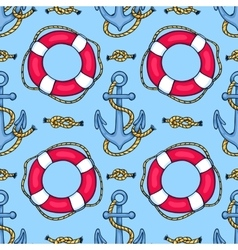 Seamless pattern with lifebuoys and anchors vector
