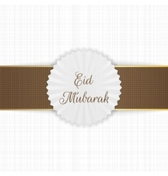 Eid mubarak realistic label with ribbon vector