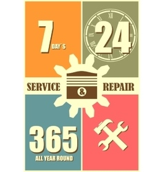 Repair fix tool icons 24h 7 day customer support vector