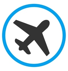 Airplane circled icon vector