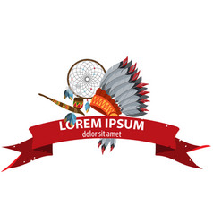 American indians cult objects and magic banner vector