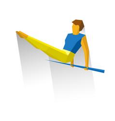 Artistic gymnastics - sportsman onhorizontal bar vector