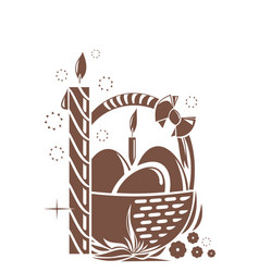Burning candle and basket with easter eggs easter vector