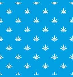 cannabis leaf pattern seamless blue vector image vector image