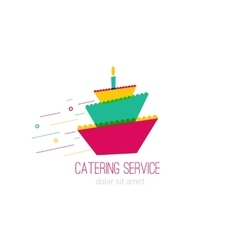 Catering colorful logo with wedding cake -concept vector image vector image