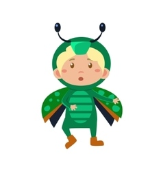 Child wearing costume of bug vector