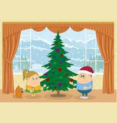Children decorating christmas fir tree vector