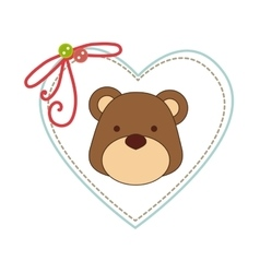 Cute animal with frame heart vector