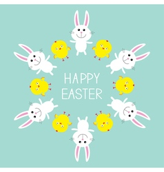 Cute bunny rabbit and chicken frame Happy Easter vector image vector image