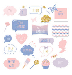 cute hand drawn speech bubbles and frames with vector image vector image