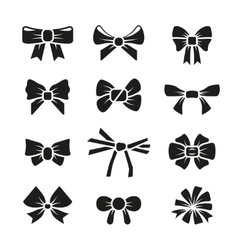 Decorative gift bows black icons set vector image