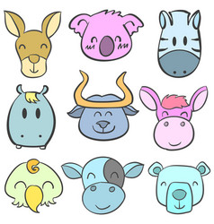 Doodle of funny animal head colorful vector