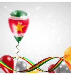 Flag of suriname on balloon vector