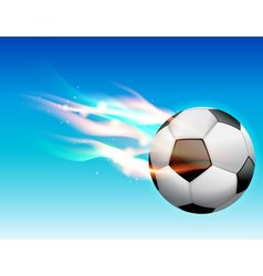 Flaming soccer ball in sky vector