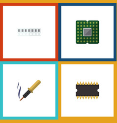 Flat icon device set of repair unit memory and vector