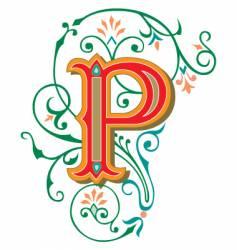 floral letter p vector image