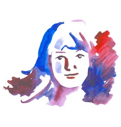 Girl watercolor on white vector