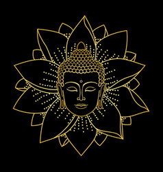 gold buddha head and lotus vector image vector image