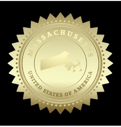 Gold star label massachusetts vector