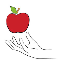Grabbing an apple vector